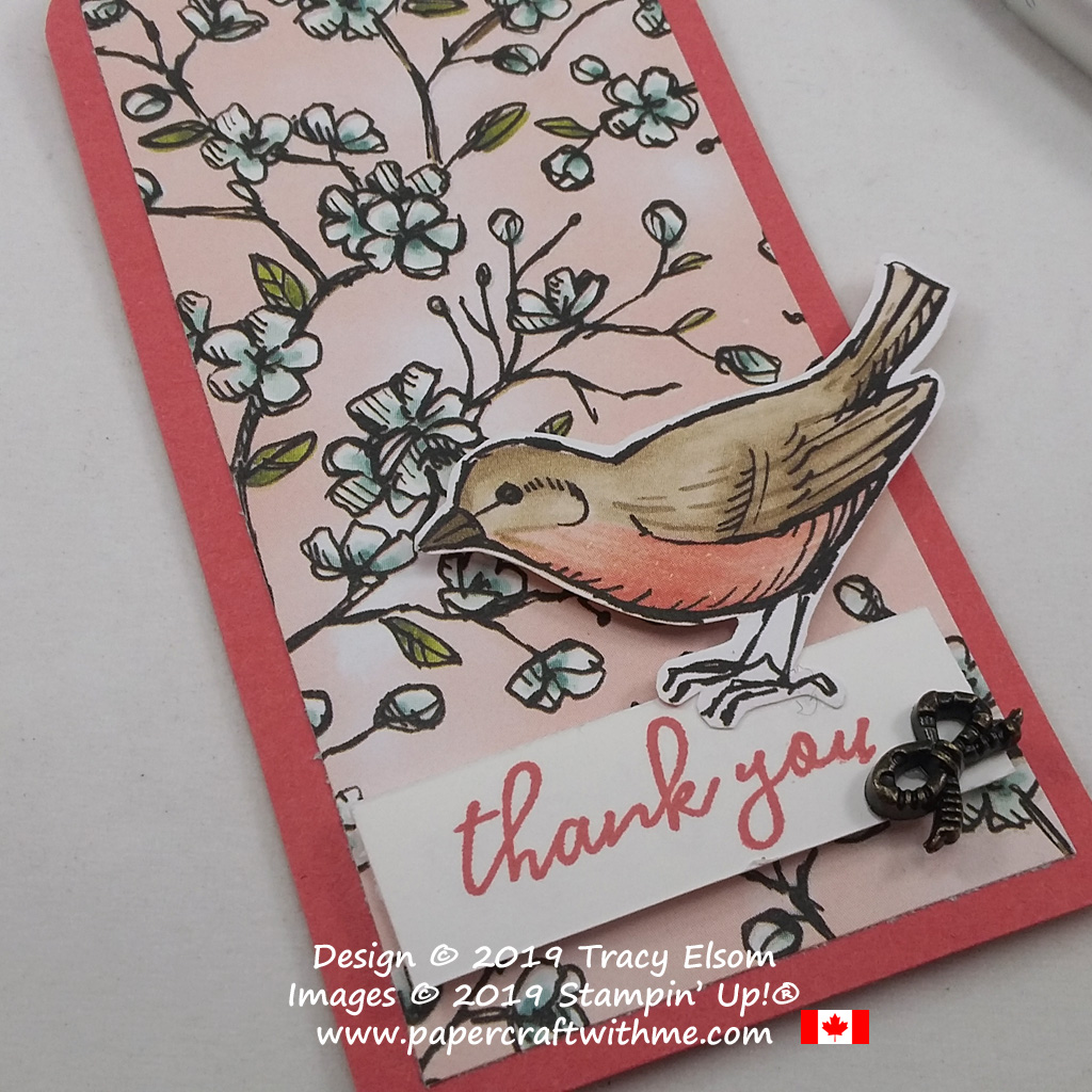 Close up of robin thank you tag created using the Bird Ballad Stamp Set and coordinating Bird Ballad DSP and Trinkets from Stampin' Up!