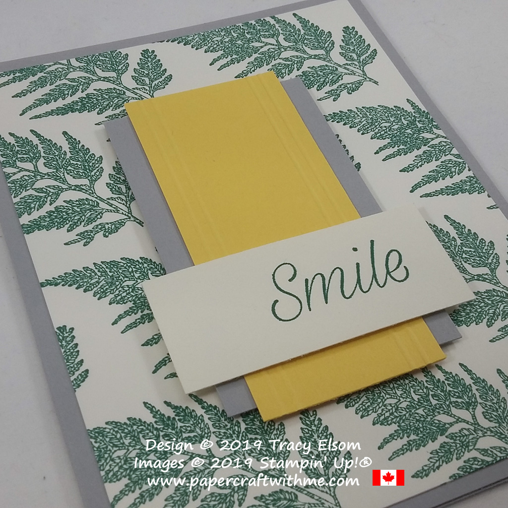 "Close up of simple card with ""smile"" sentiment and fern image from the Daisy Lane Stamp Set by Stampin' Up!"