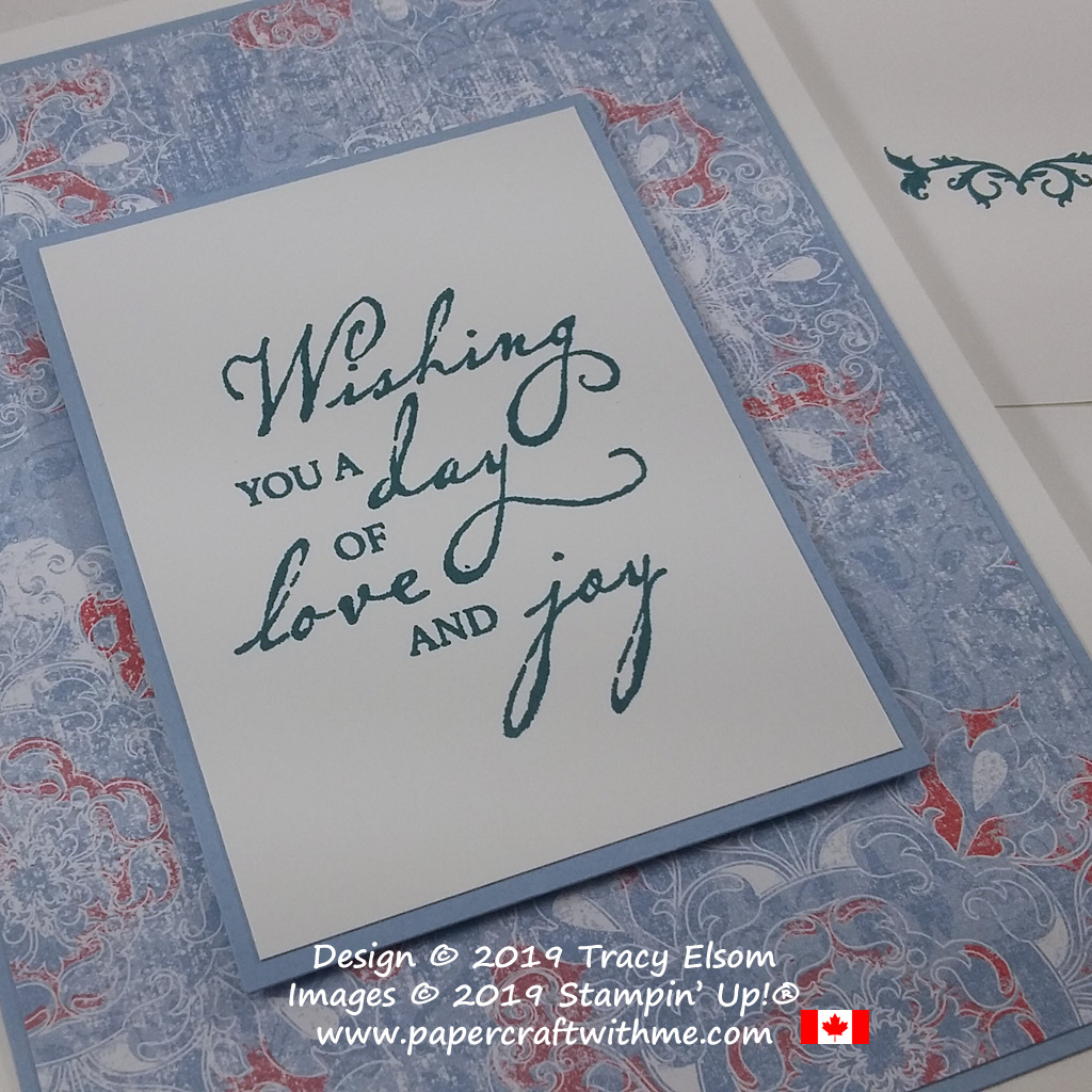Close up of Wishing you a day of love and joy sentiment from the Woven Heirlooms Stamp Set from Stampin' Up!