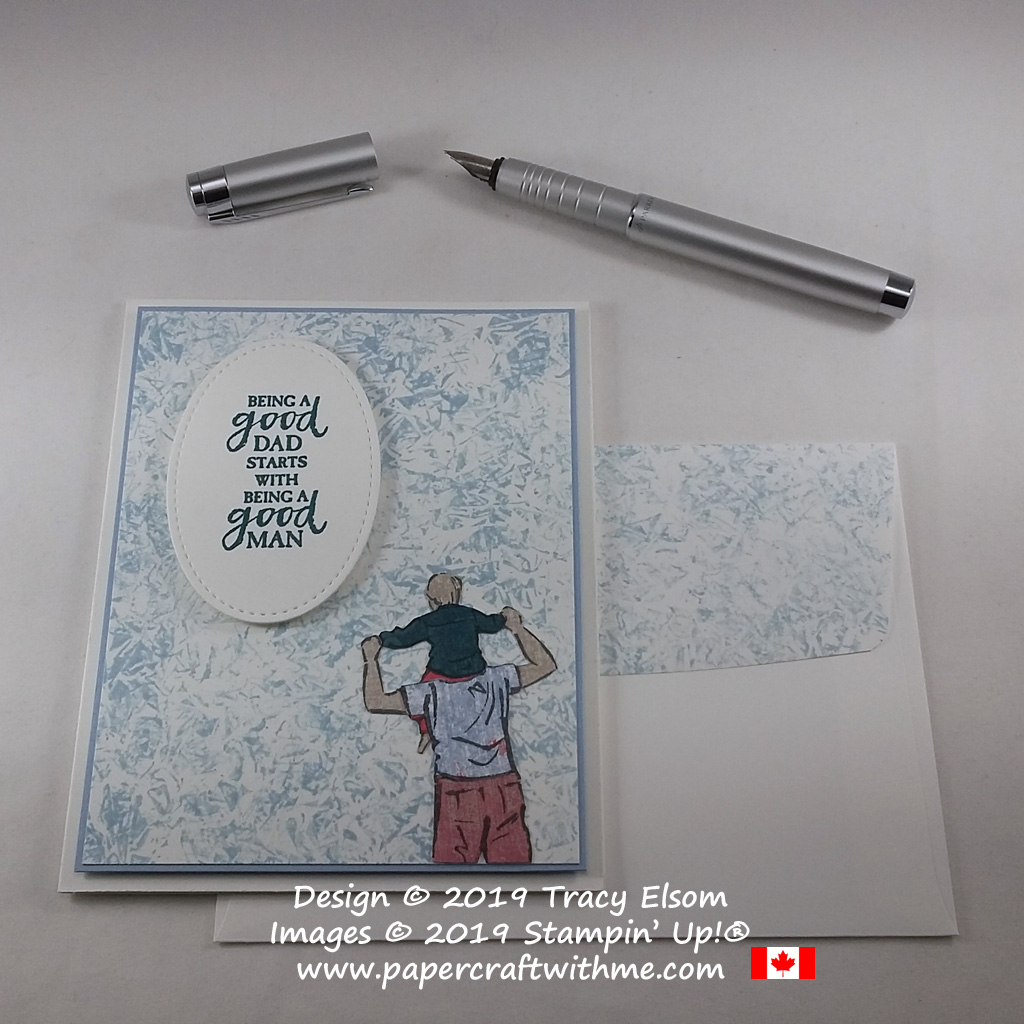 """Father's Day card with """"a good dad"""" sentiment and paper pieced image created using A Good Man Stamp Set and Woven Threads DSP from Stampin' Up!"""
