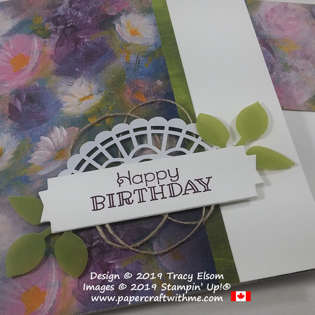 Close up of floral birthday card created using the Rustic Retreat Stamp Set and Perennial Essence DSP from Stampin' Up!