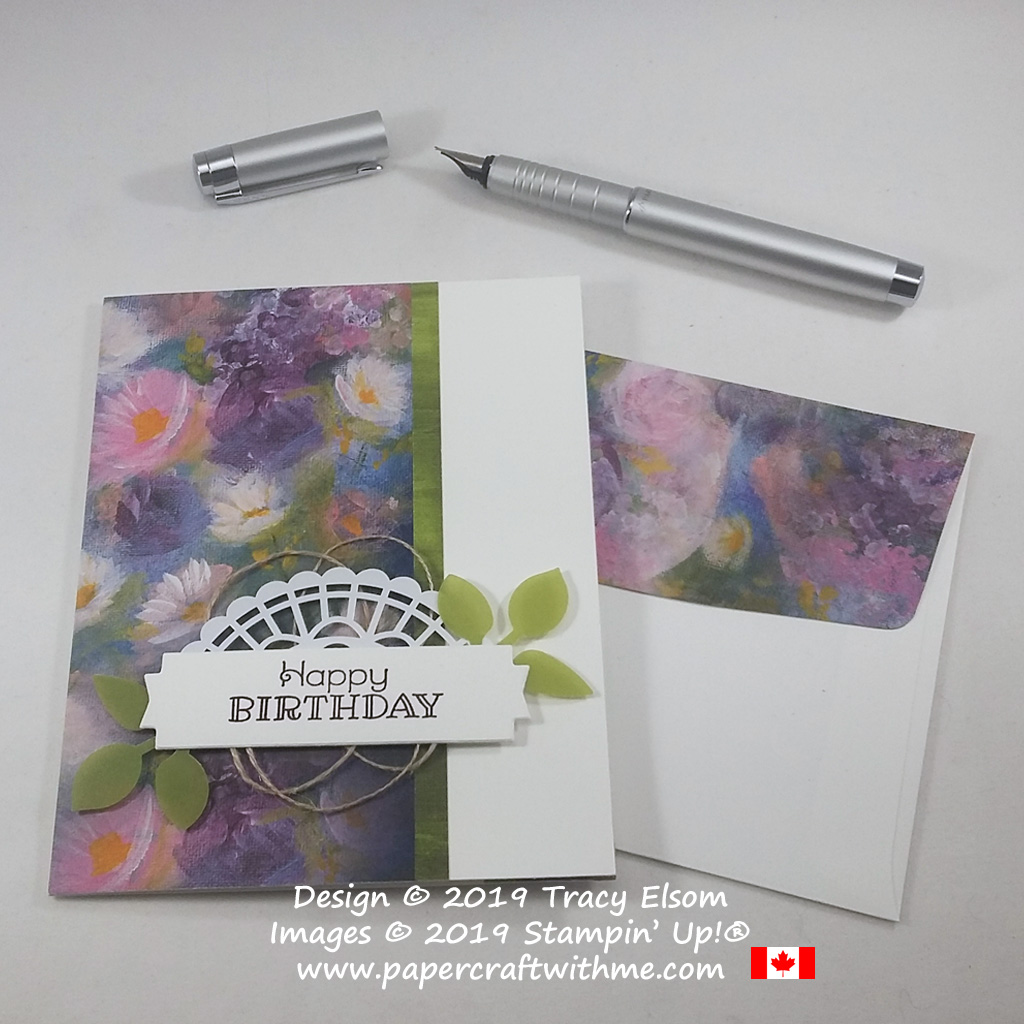 Floral birthday card created using the Rustic Retreat Stamp Set and Perennial Essence DSP from Stampin' Up!