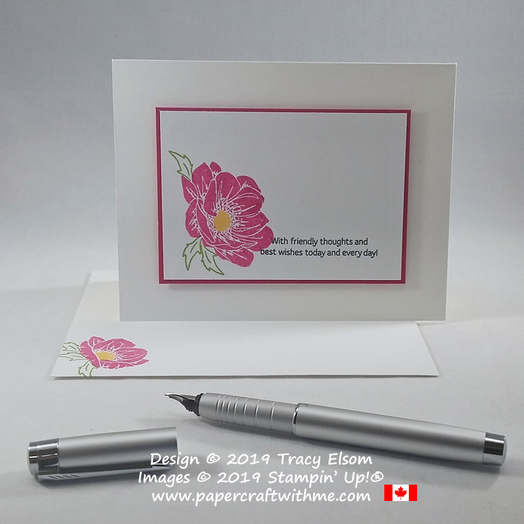 Simple card with wild rose created using the Floral Essence Stamp Set from Stampin' Up! #simplestamping