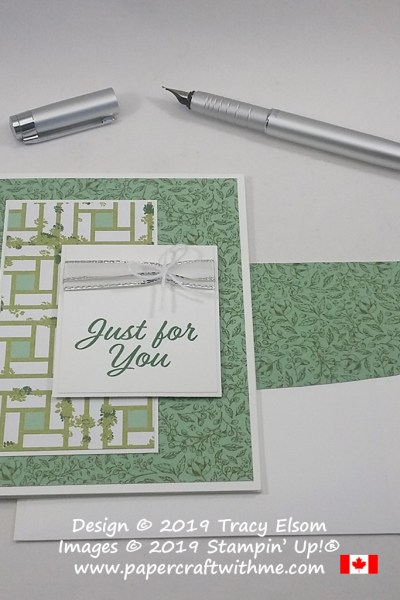 """Just for you"" card in shades of green created using the Meant to Be Stamp Set and Garden Lane DSP from Stampin' Up!"