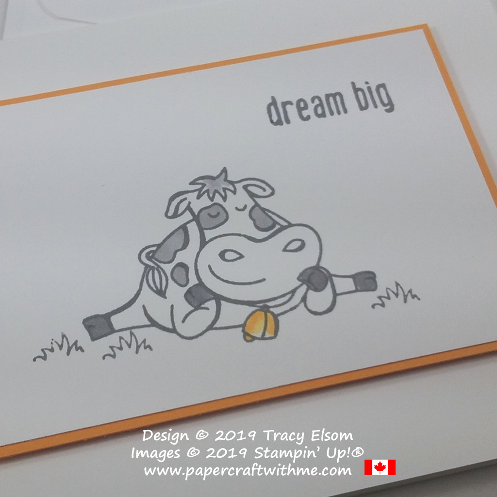 "Close up of simple card with cow and ""dream big"" sentiment from the Over The Moon Stamp Set by Stampin' Up!"