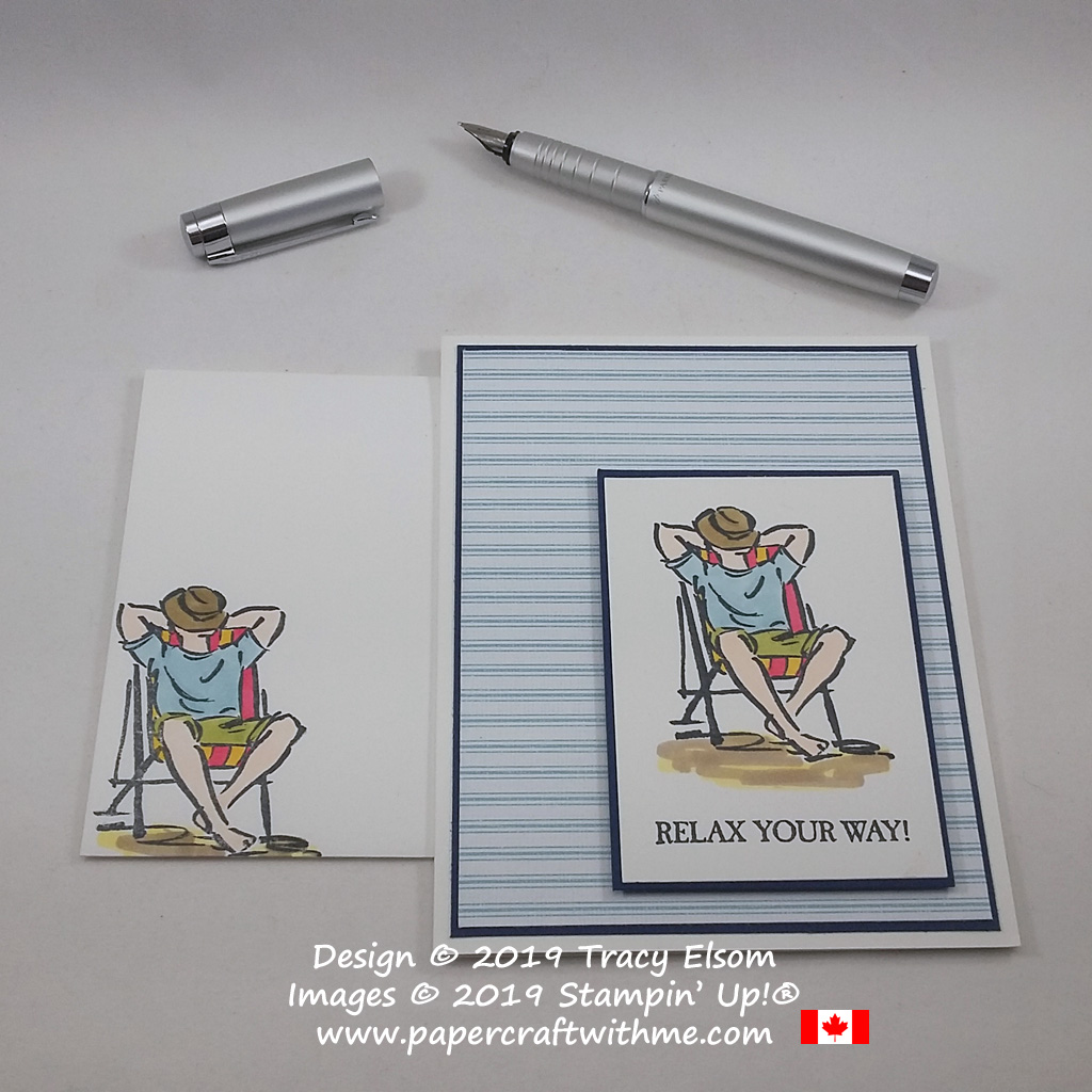 Close up of card with man in a deckchair and Relax your Way sentiment from the A Good Man Stamp Set coloured using Stampin' Blends, all from Stampin' Up!