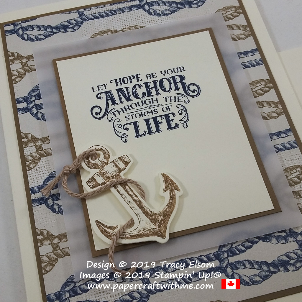 Close up of inspirational card created using the Sailing Home Stamp Set, Smooth Sailing Dies, Come Sail Away DSP and Nature's Twine from Stampin' Up!