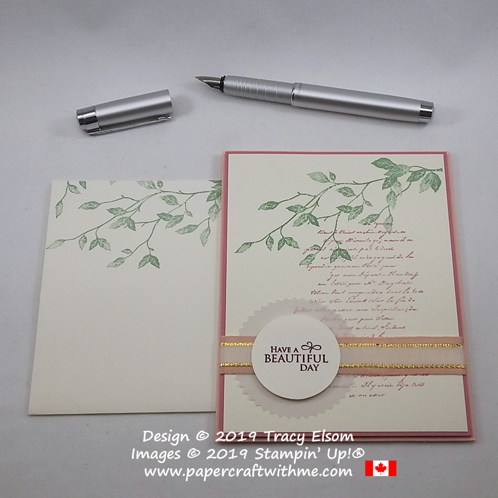 "Elegant card with background images and ""Have a beautiful day"" sentiment from the Very Versailles Stamp Set from Stampin' Up!"