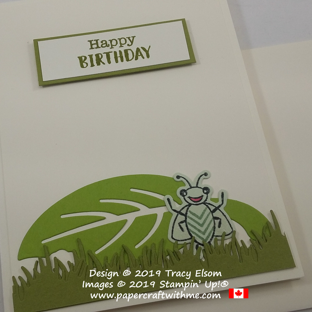 Close up of cute children's birthday card created using the Wiggle Worm Stamp Set and coordinating Wiggly Bugs Dies from Stampin' Up!