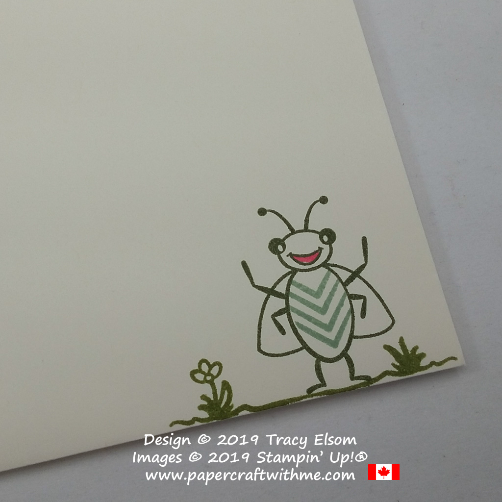 Close up of cute bug image created using the Wiggle Worm Stamp Set from Stampin' Up!