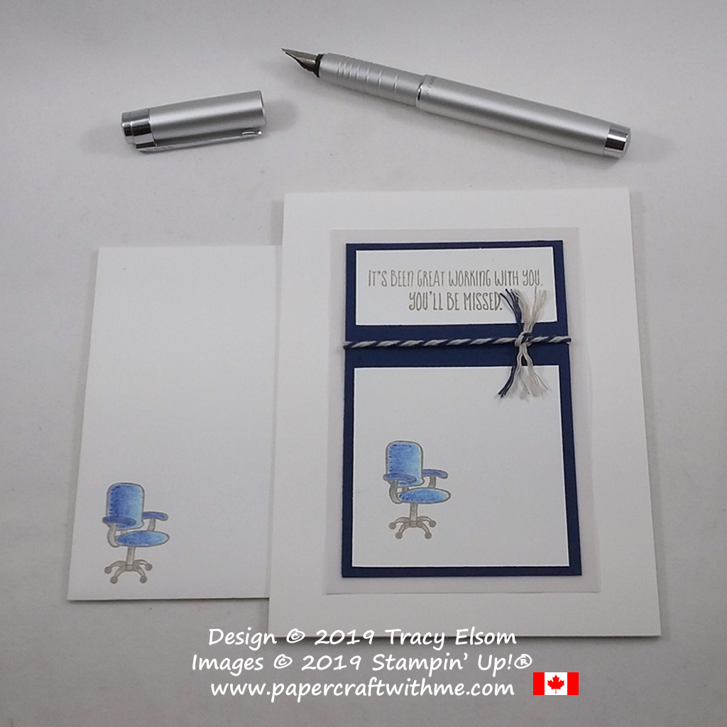 """""""You'll be missed"""" card with office chair created using the Welcome To The Team Stamp Set from Stampin' Up!"""