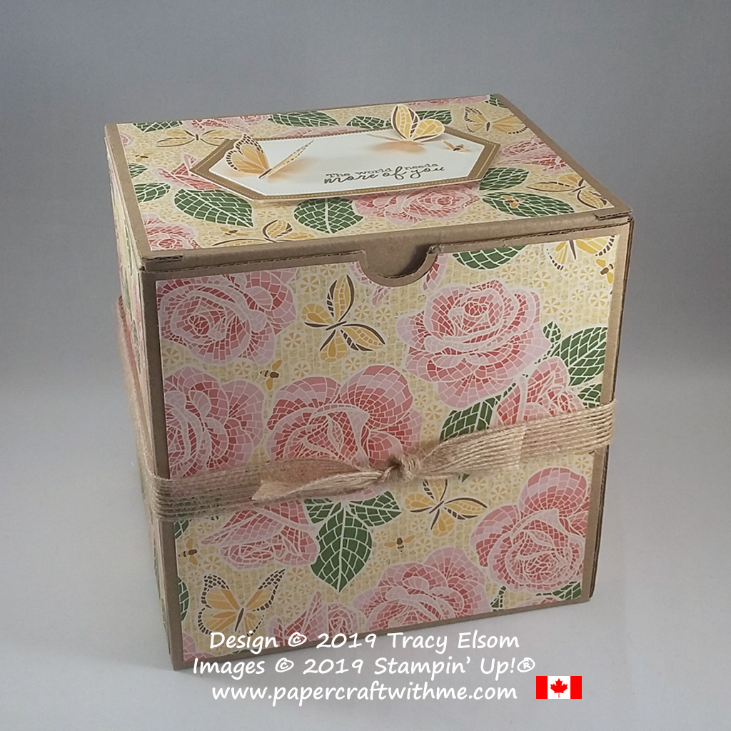 "Large (6""x6""x5"") repurposed box decorated with rose mosaic design from Mosaic Mood Specialty DSP and Free As A Bird Stamp Set by Stampin' Up!"