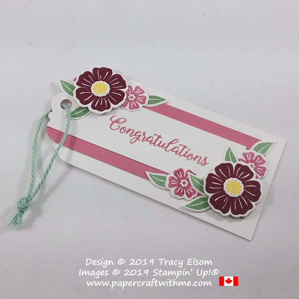 Floral congratulations tag created using the Beautiful Bouquet Stamp Set and coordinating Bouquet Bunch Dies from Stampin' Up!