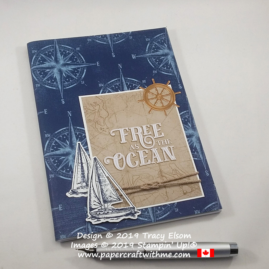 Sailing themed notebook, decorated using products from the Come Sail Away suite from Stampin' Up!