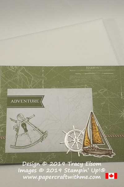 "Cover of 4"" x 6"" pocket photo album decorated with ""Adventure"" title and nautical images from the Come Sail Away suite from Stampin' Up!"