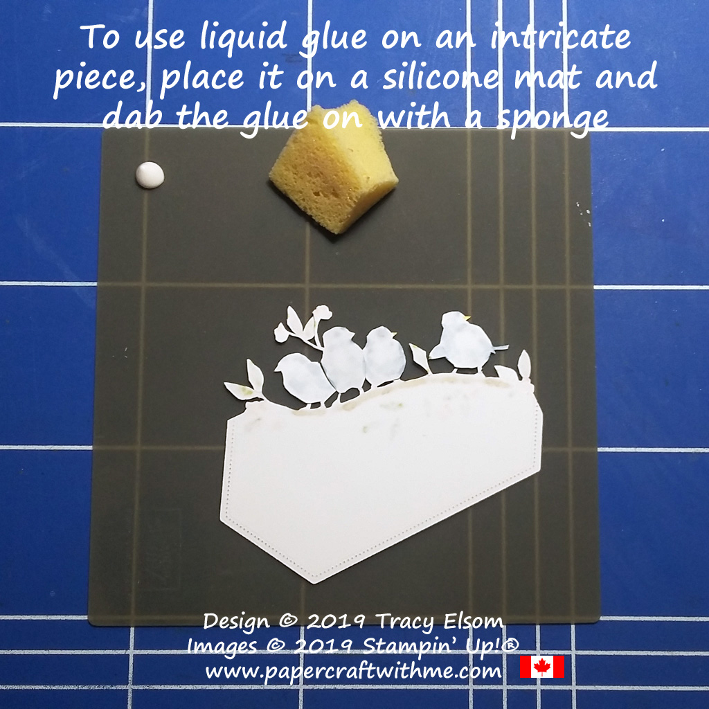 Tip for using liquid glue on an intricately cut piece of card