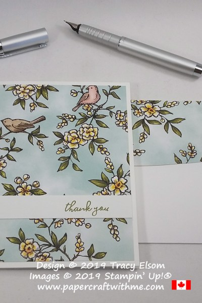 Simple thank you card created using the Free As A Bird Stamp Set and Bird Ballad Designer Series Paper from Stampin' Up! #simplestamping