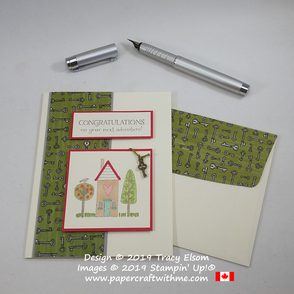 New home card with bronze key embellishment, created using the On To Adventure and Grandma's House Stamp Sets from Stampin' Up!