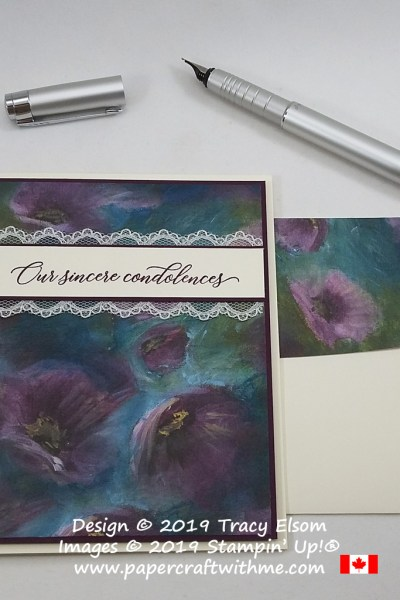"""Sympathy card with """"Our sincere condolences"""" sentiment from the Kindness & Compassion Stamp Set from Stampin' Up!"""