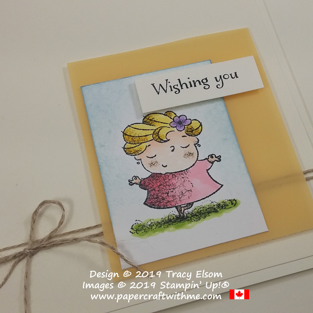 Close up of card created using the dancer / yoga pose lady and sentiment from the On To Adventure Stamp Set from Stampin' Up!