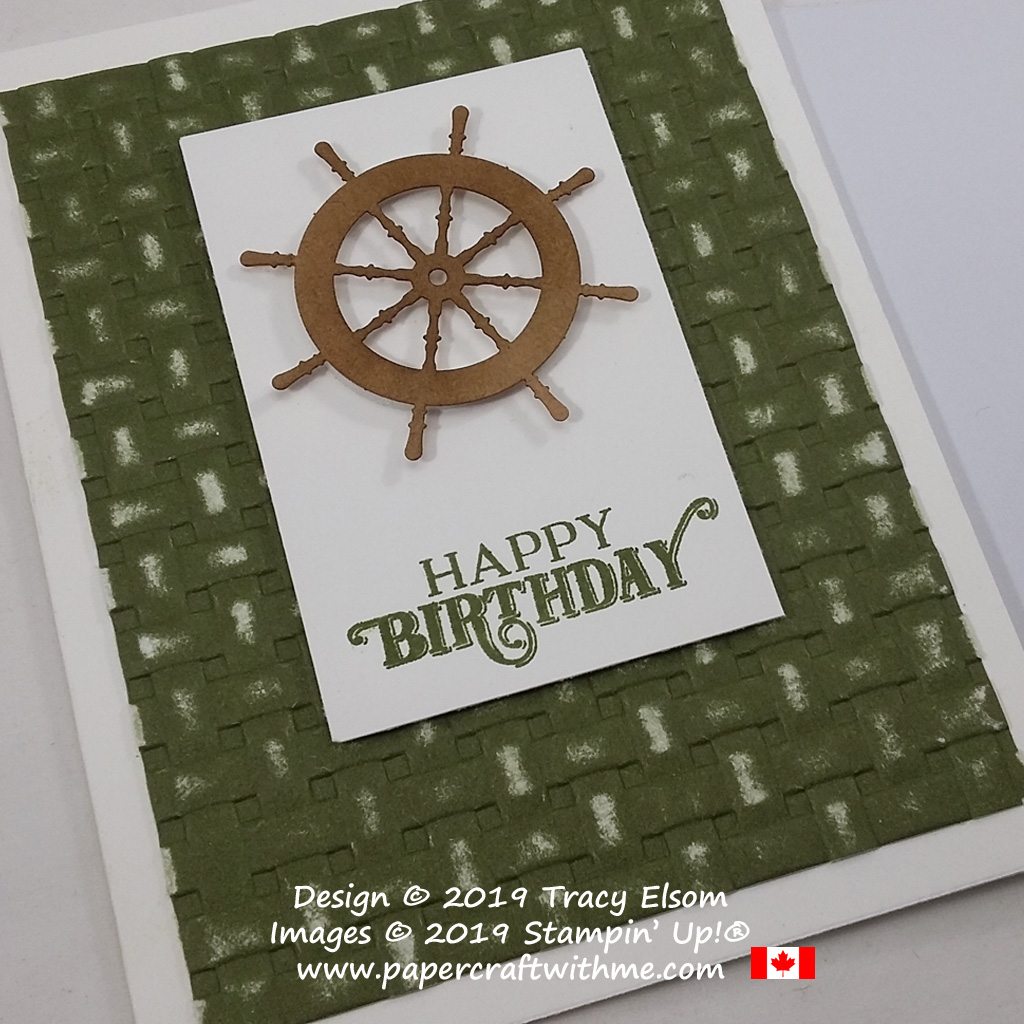 Close up of masculine sailing themed birthday card created using pieces from the July 2019 paper Pumpkin kit, On My Mind, plus the Basket Weave 3D Embossing Folder from Stampin' Up!