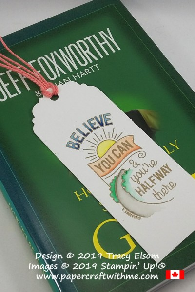 Bookmark created on watercolour paper using Stampin' Write Markers and Believe You Can (Host) Stamp Set from Stampin' Up!
