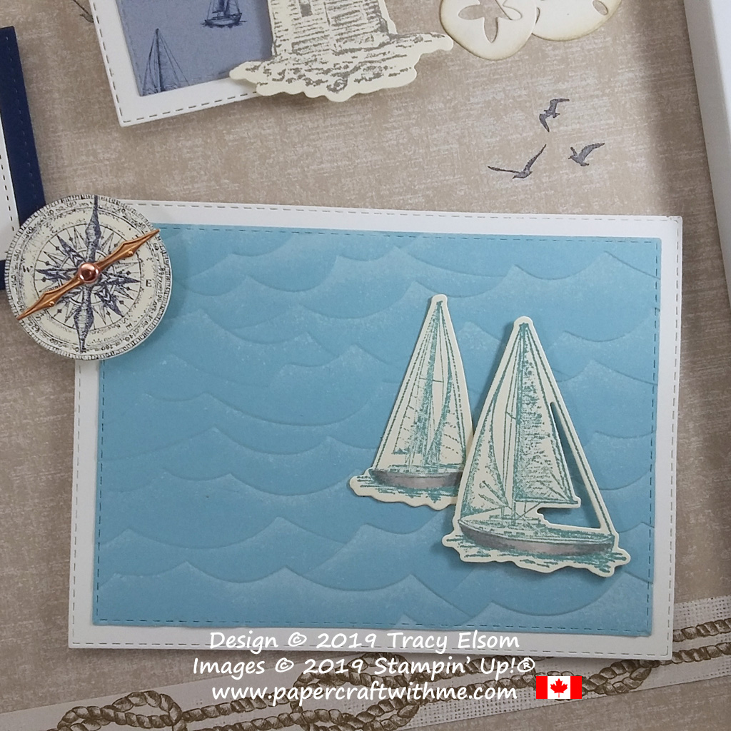"Bottom right corner of 12"" x 12"" frame with seaside images created using the Sailing Home Stamp Set and coordinating Smooth Sailing Dies and High Seas 3D Embossing Folder, all from Stampin' Up!"