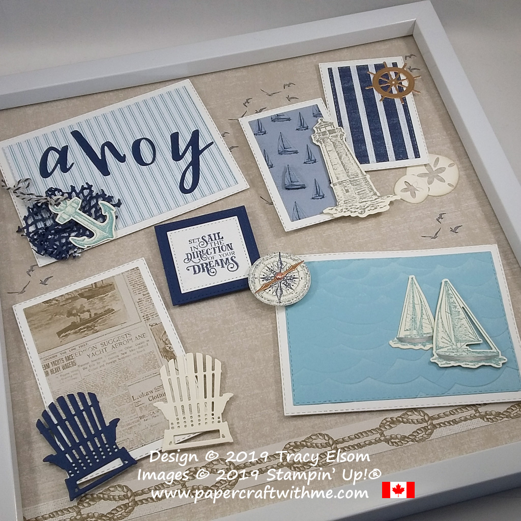 "Multilayered Ahoy 12"" x 12"" frame with seaside images created using the Sailing Home Stamp Set and coordinating Smooth Sailing Dies plus Designer Series Paper and other Dies, all from Stampin' Up!"