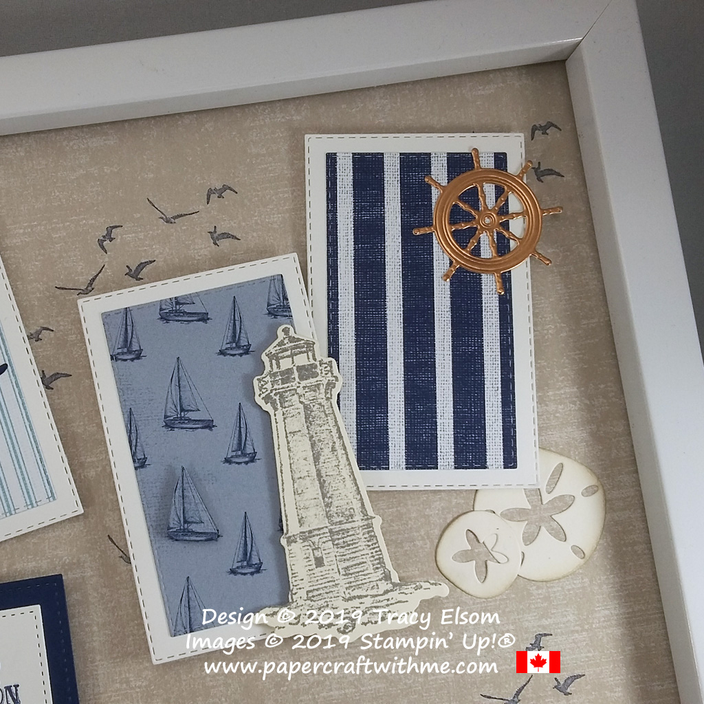 """Top right corner of 12"""" x 12"""" frame with stamped images from the Sailing Home Stamp Set, and accents cut using the coordinating Smooth Sailing Dies and Under The Sea Dies, all from Stampin' Up!"""