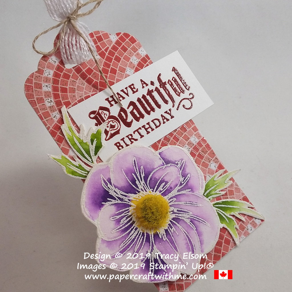 Close up of birthday gift tag created using the Floral Essence and Painted Glass Stamp Sets on a background of Mosaic Mood Specialty DSP, all from Stampin' Up!