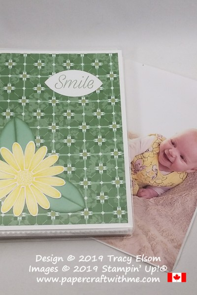 """4"""" x 6"""" pocket photo album decorated with large daisy image and """"smile"""" sentiment from the Daisy Lane Stamp Set from Stampin' Up!"""