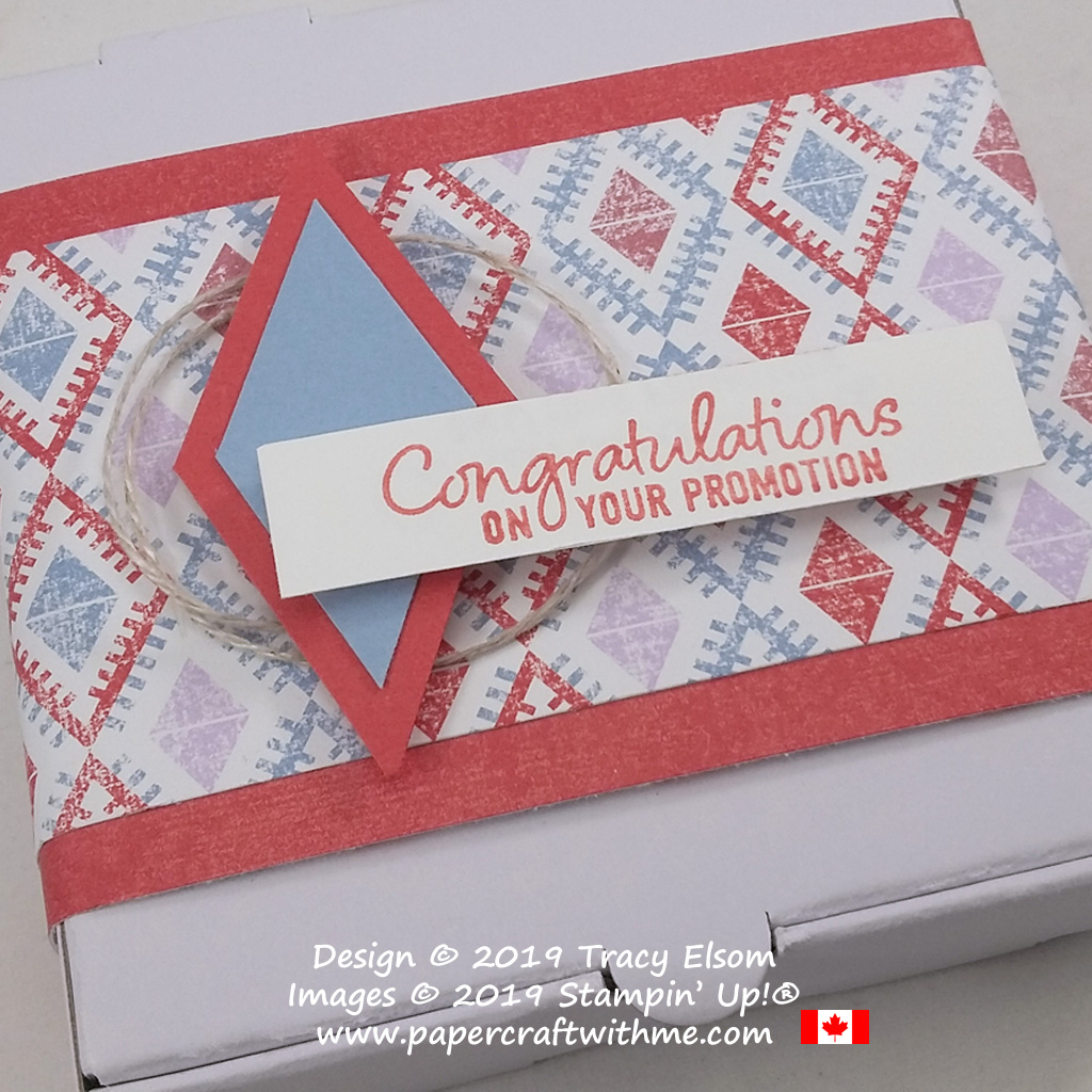 "Close up of Mini Pizza Box decorated with diamonds design, and ""Congratulations on your promotion"" sentiment from the Welcome To The Team Stamp Set from Stampin' Up!"