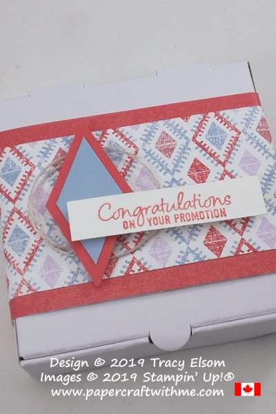 "Decorated Mini Pizza Box with ""Congratulations on your promotion"" sentiment from the Welcome To The Team Stamp Set from Stampin' Up!"