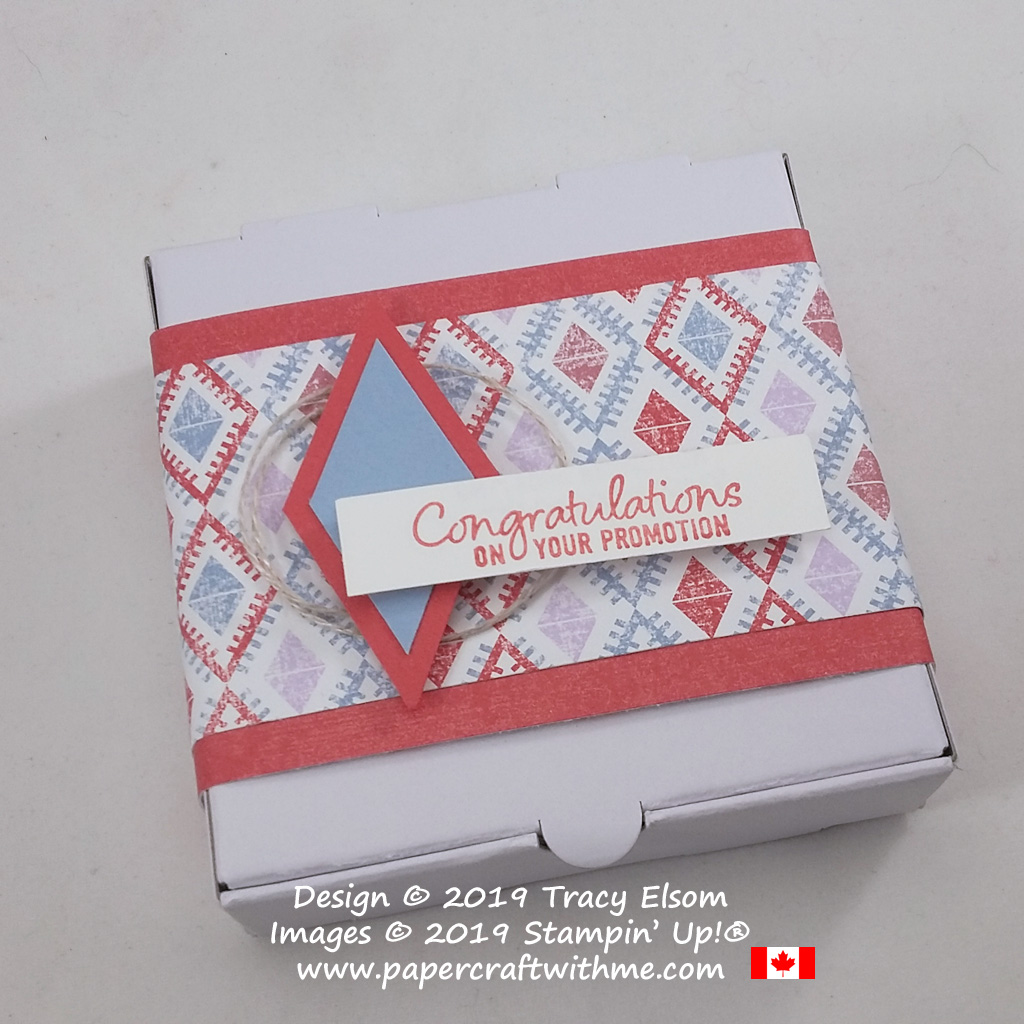 "Close up of decorated Mini Pizza Box with ""Congratulations on your promotion"" sentiment from the Welcome To The Team Stamp Set from Stampin' Up!"