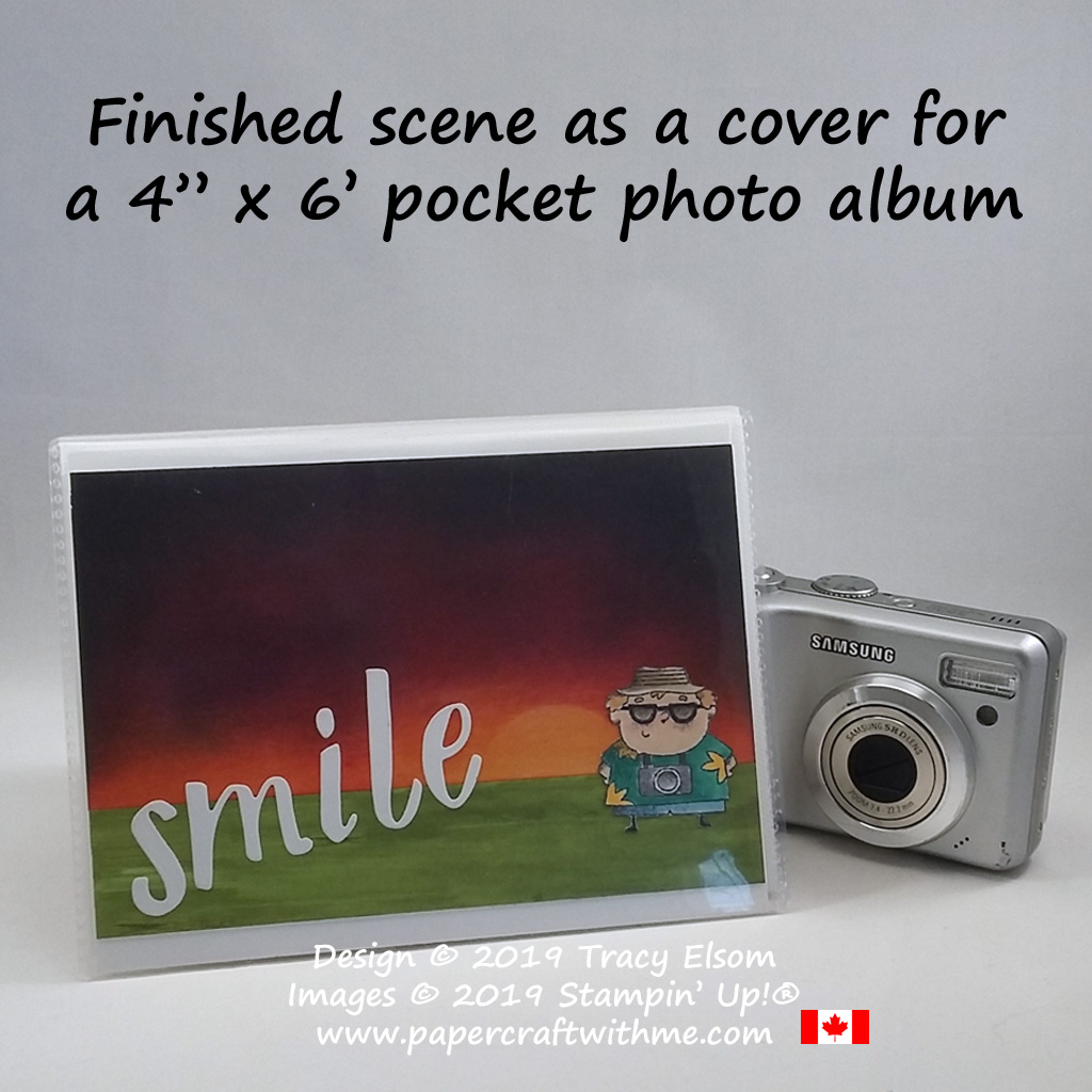 "4"" x 6"" Pocket Photo Album decorated with a sponged sunset scene and photographer image from the On To Adventure Stamp Set from Stampin' Up!"