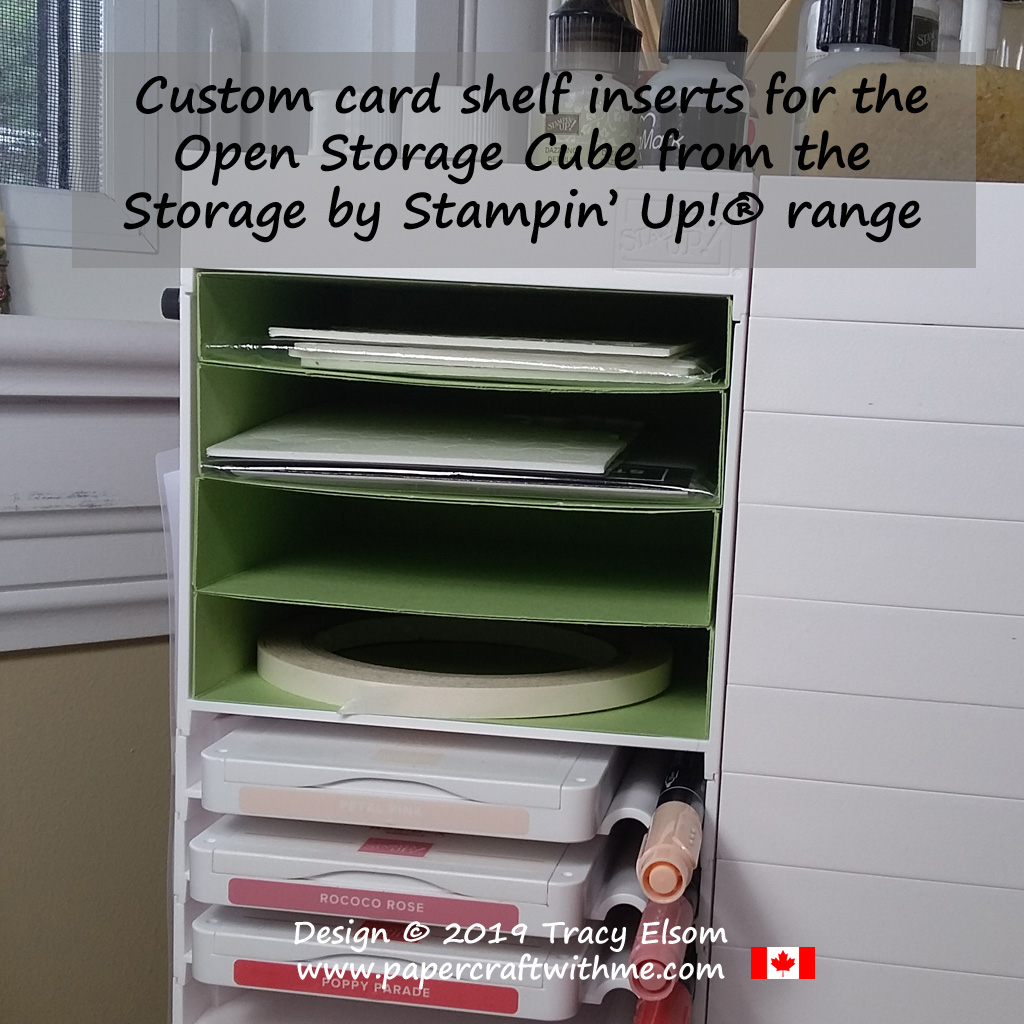 Close up of custom card shelf inserts for the Open Storage Cube from the Storage by Stampin' Up! range.