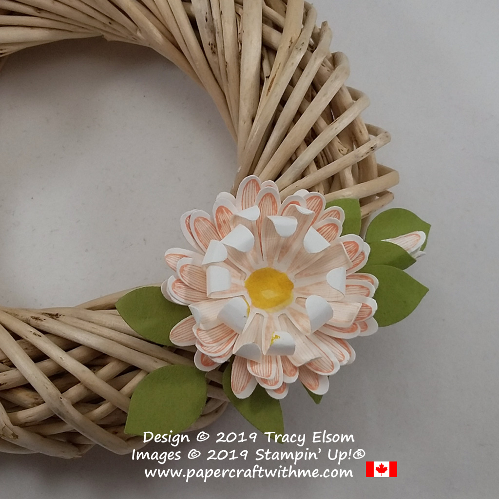 Close up of small wreath decoration created using the Daisy Lane Stamp Set with the Medium Daisy and Leaf Punches, all from Stampin' Up!