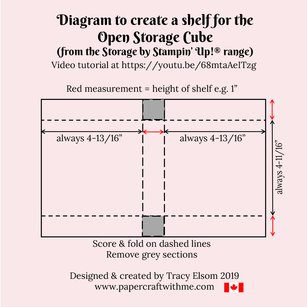 Diagram to make custom card shelf inserts for the Open Storage Cube from the Storage by Stampin' Up! range.