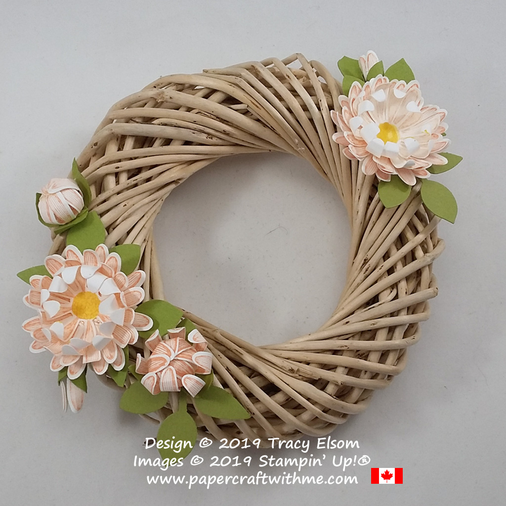 Small wreath decoration created using the Daisy Lane Stamp Set with the Medium Daisy and Leaf Punches, all from Stampin' Up!