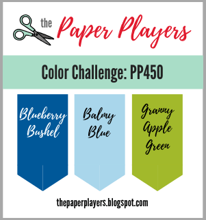 Challenge logo for The Paper Players color challenge PP450 - Blueberry Bushel, Balmy Blue and Granny Apple Green.