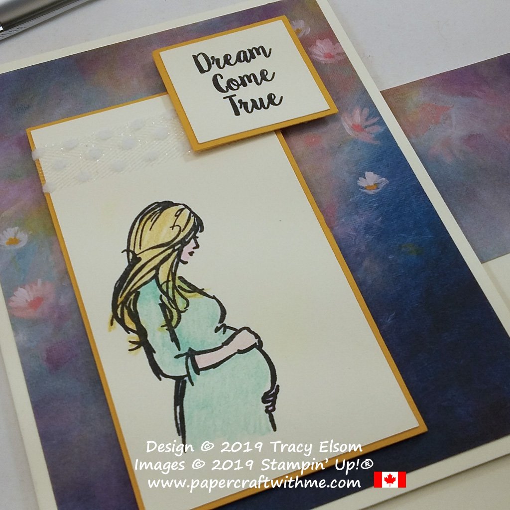 """Close up of card with """"Dream come true"""" sentiment and pregnant lady image created using the Wonderful Moments Stamp Set from Stampin' Up!"""