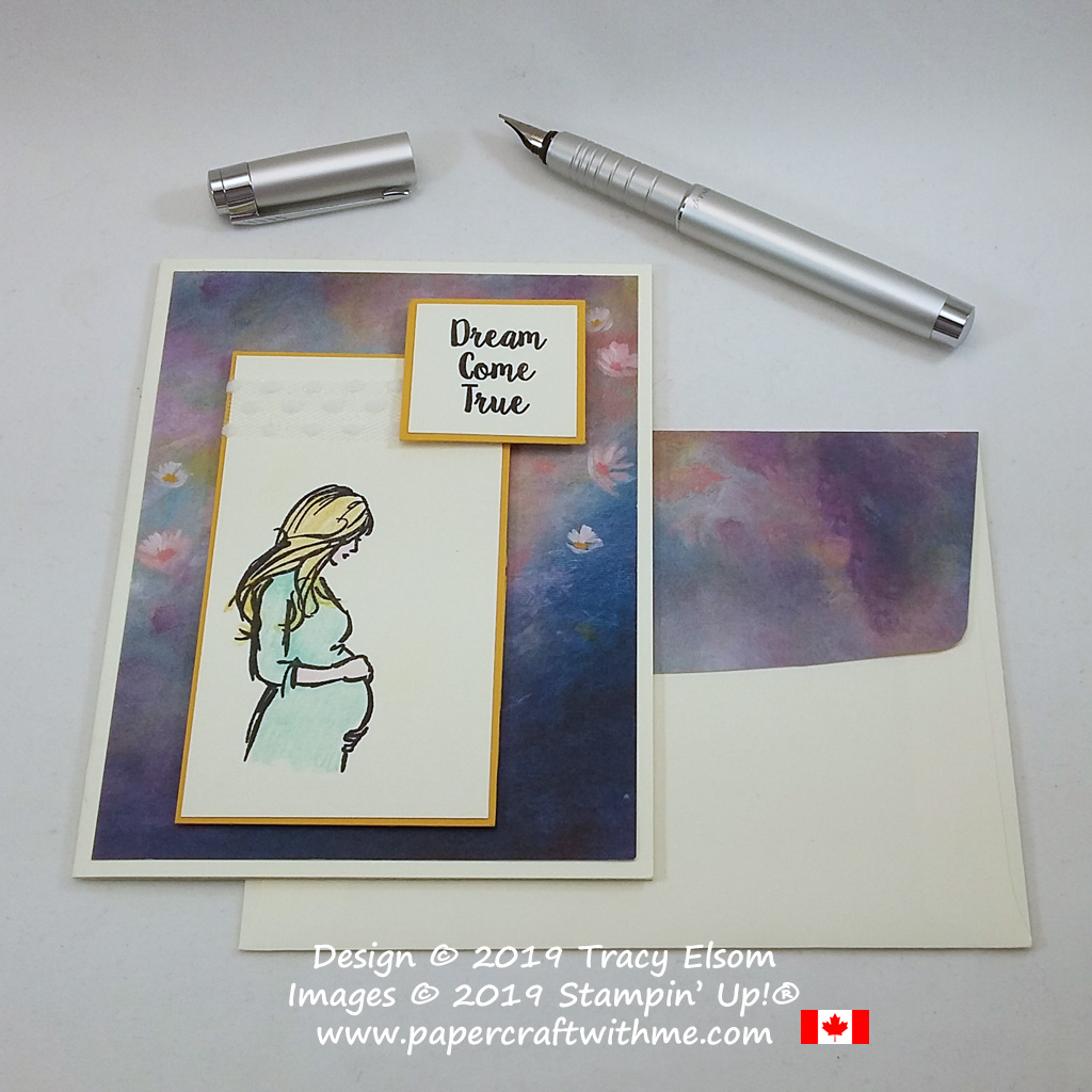 """Card with """"Dream come true"""" sentiment and pregnant lady image created using the Wonderful Moments Stamp Set from Stampin' Up!"""