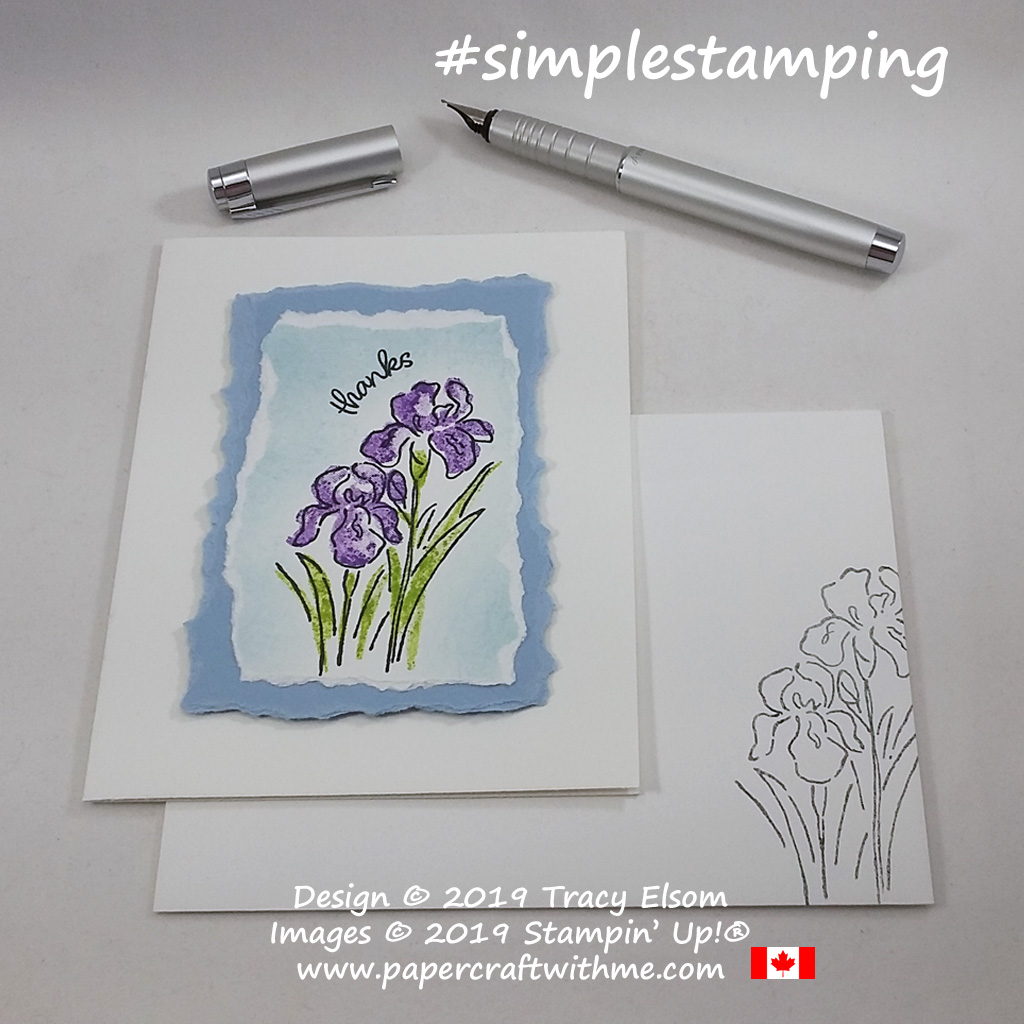 Simple thank you card created using the Inspiring Iris Stamp Set from Stampin' Up! #simplestamping #papercraftwithme