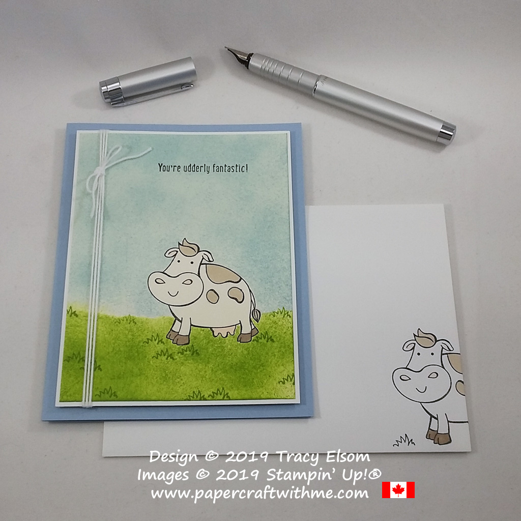 "Fun card with cow image and ""you're udderly fantastic"" sentiment from the Over The Moon Stamp Set from Stampin' Up!"
