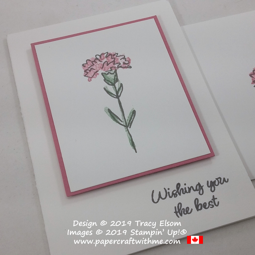 """Close up of #simplestamping card with """"Wishing you the best"""" sentiment and carnation image from the Inspiring Iris Stamp Set by Stampin' Up!"""