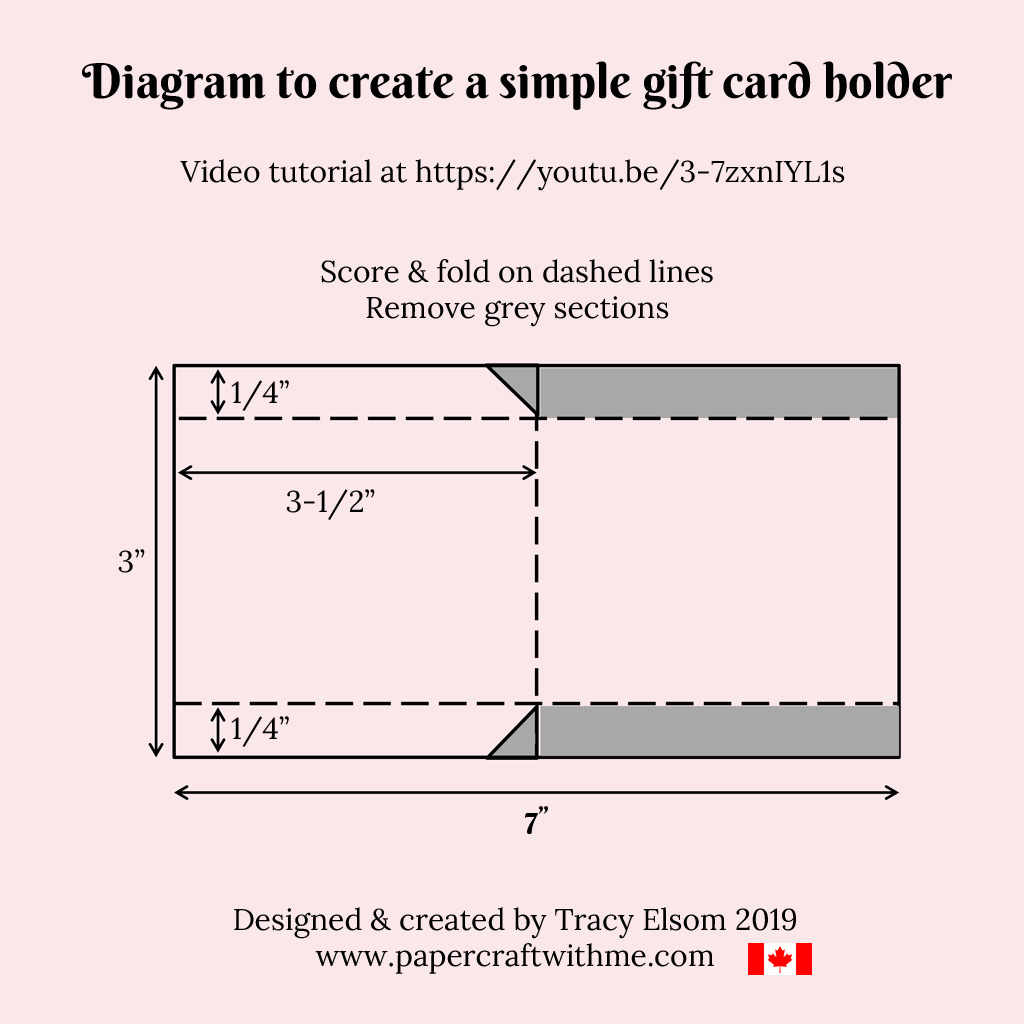 Diagram to create a simple gift card holder. #papercraftwithme
