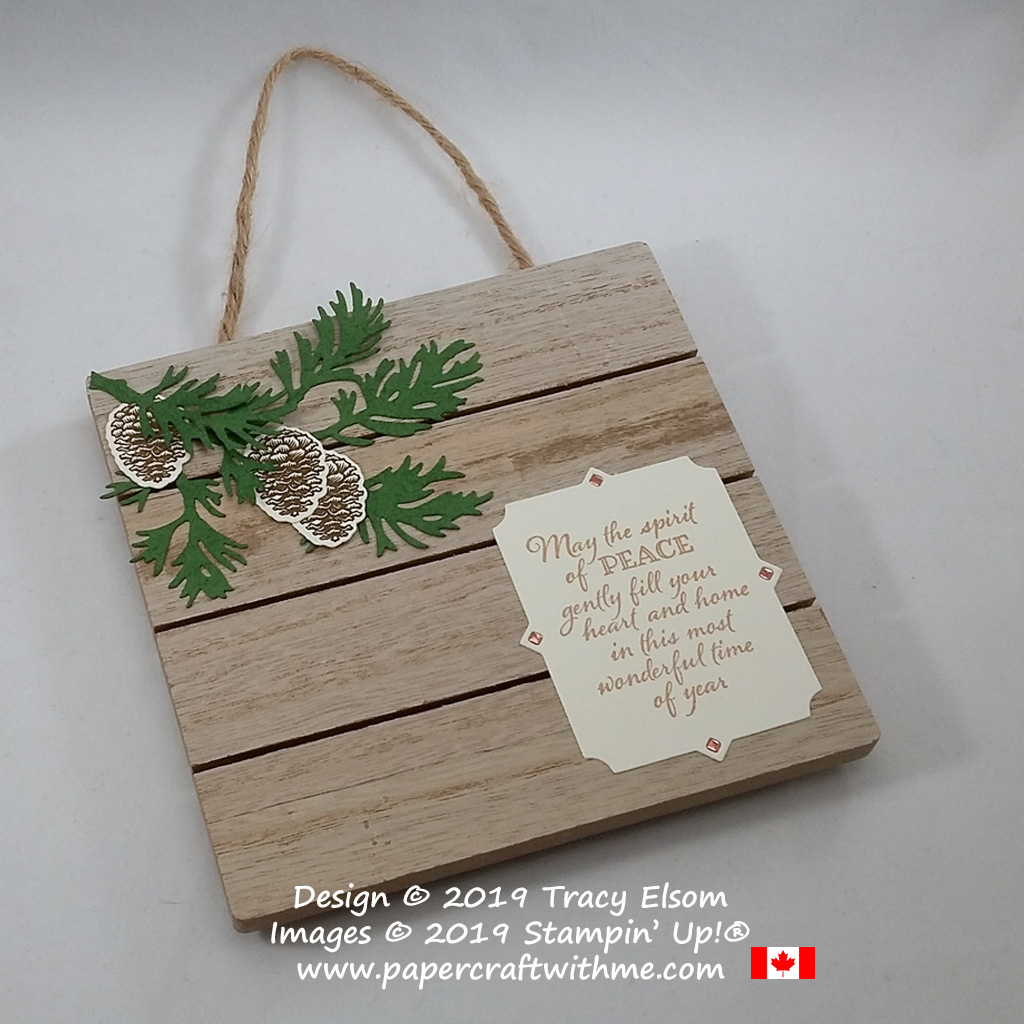 """Spirit of peace plaque (5-1/2"""" x 5-3/4"""") created using the Peaceful Boughs Stamp Set and coordinating Beautiful Boughs Dies from Stampin' Up! #papercraftwithme"""