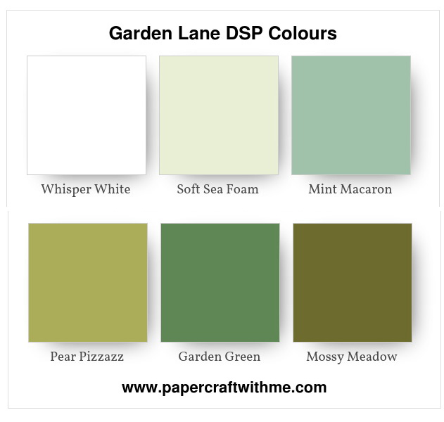 Graphic showing the colours used in the Garden Lane Designer Series Paper (DSP) pack from Stampin' Up!