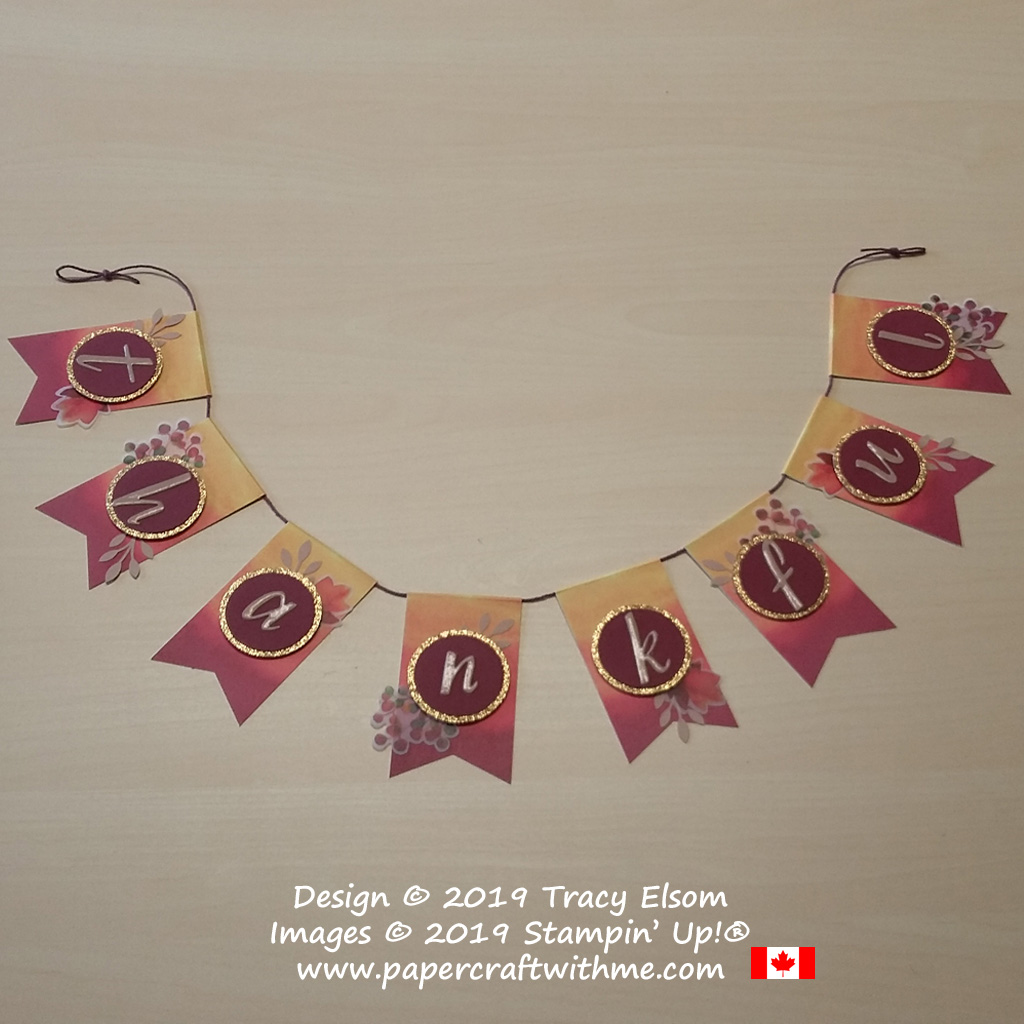 """Thankful banner created using the August Paper Pumpkin kit """"Gift of Fall"""" and Add On Card kit from Stampin' Up! #papercraftwitme"""