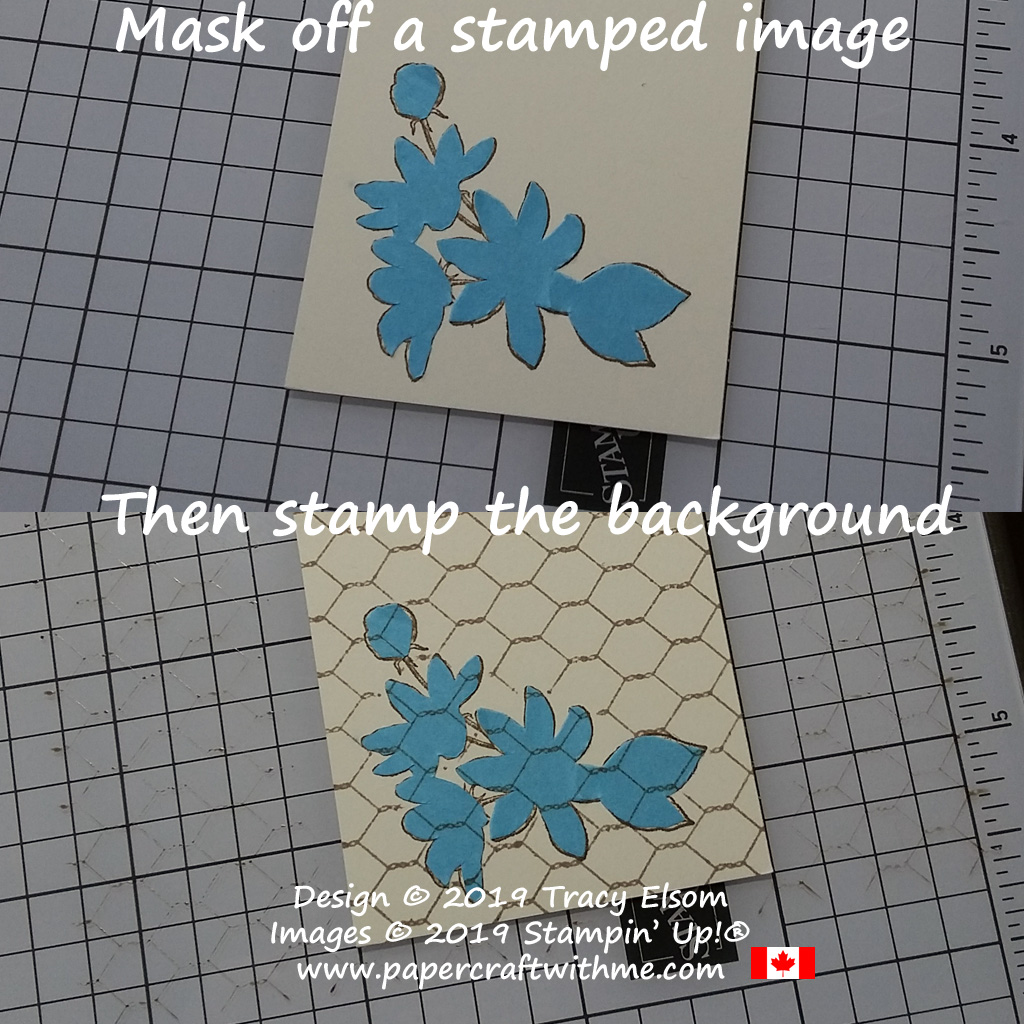 Mask of a stamped image then stamp the background so it appears to be behind the first image.